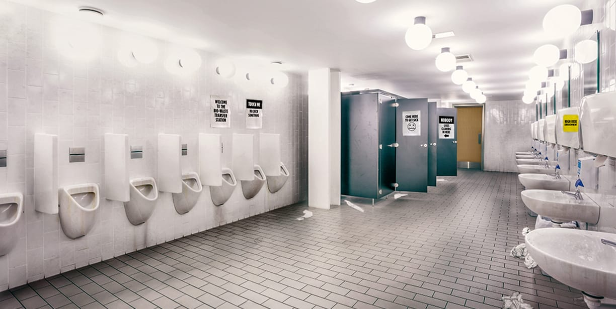 the signs of an unclean unhealthy washroom - Commercial Bathroom